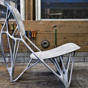 "Joris Laarman's ""Bone Chair"" is a unique piece produced through a special 3D-printing process"