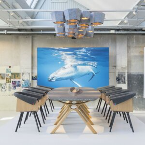 Inspired by the whale, design studio LAMA Concept created the collection Plastic Whale by Vepa. The boardroom table draws on the image of a surfacing whale with its distinctive blowhole and gracious lines.