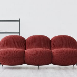 The design of the BaBa collection from Jot.Jot comes from Iskos Berlin. The cover for the sofa system is available in graphite, red and an earth tone.