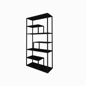 LITE - Roomdeviders, bookcases and tables in black metal.