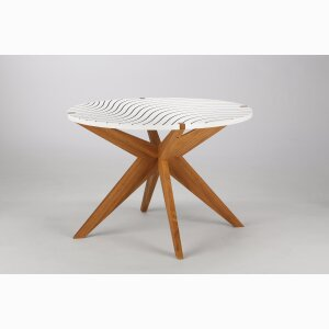 X MESITA TEA TABLE – oak wood, white top with black lines