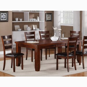 5 pc. set features wood table w/leaf, faux leather seats