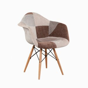 Patchwork Fabric Chair With Solid Wood Leg