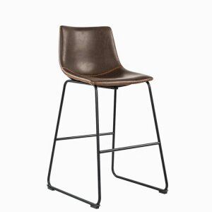Leather Bar Chair With Backrest