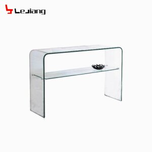 Clear Console Table with Glass Shelf