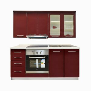 Kitchen IN Block A Appliances 180 Dark red gloss