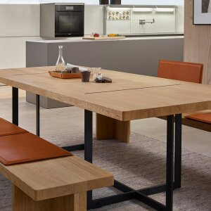 Table and bench from the bulthaup b Solitaire series