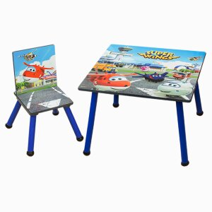 Super Wings 2pcs Kids Seating Set Wood Kids Table With Kids Chair C3DZY001
