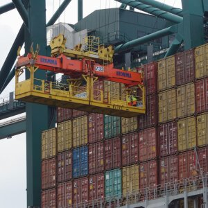 Container ships are jammed in many ports and unloading has to be quicker than before